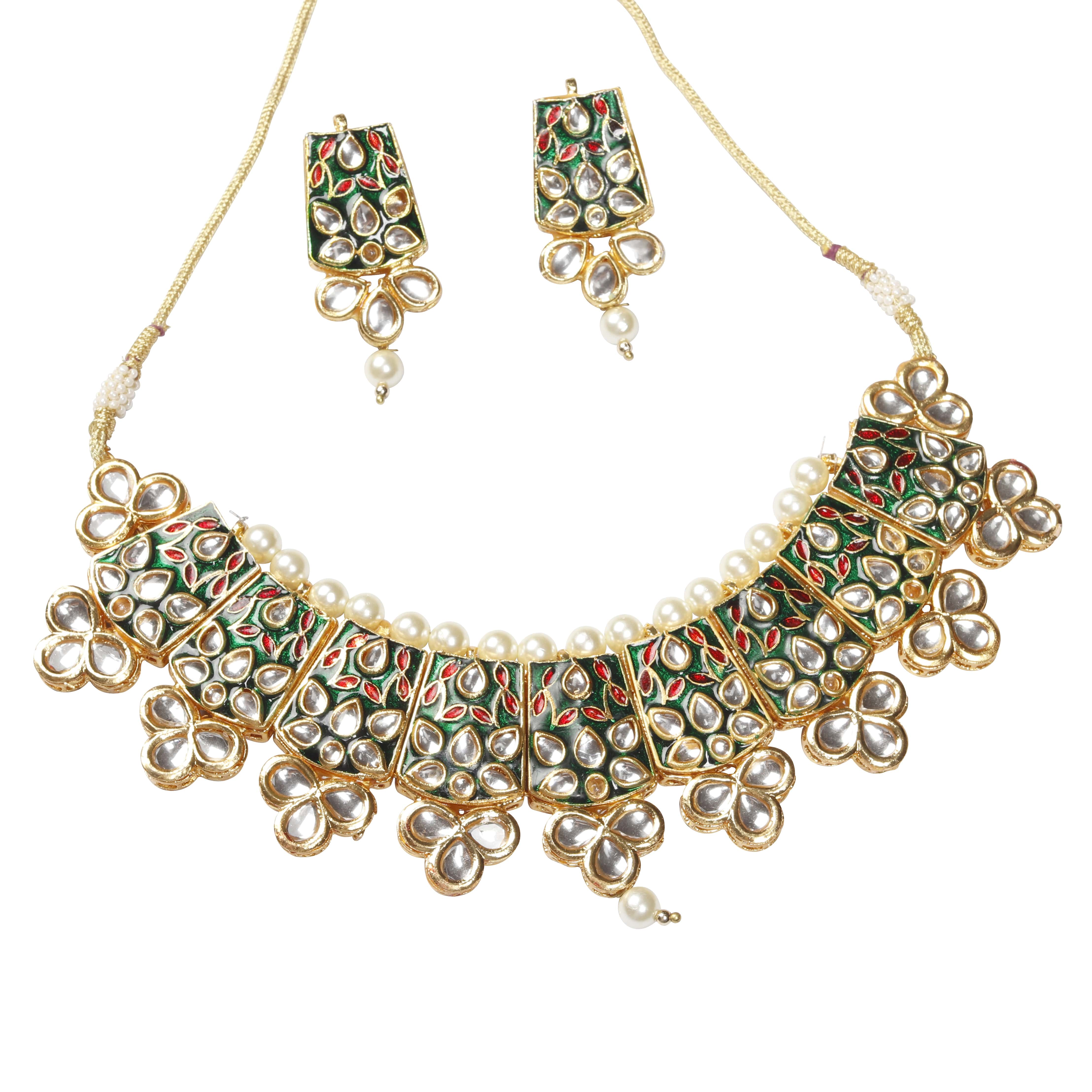 GREEN KUNDAN TRADITIONAL NECKLACE